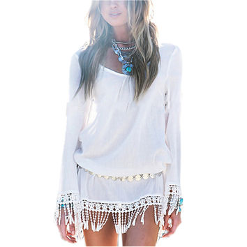 Boho white tassel mini dress
