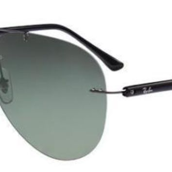RAY BAN 8058 59 004/9A AVIATOR RUTHENIUM GREY POLARIZED SUNGLASSES POLARIZED