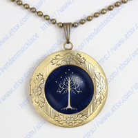 "Lord of the Rings Necklace ""The white Tree"", White Tree of Gondor, Movies Jewelry, Vintage Jewelry,vintage pendant locket necklace"