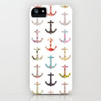 Vintage retro sailor girly floral nautical anchors iPhone Case by Girly Trend | Society6