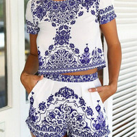 Blue White Short Sleeve Floral Crop Top With Shorts Suits