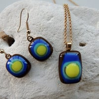 fused glass necklace, glass earrings,glass set,jewelry set,pendant necklace and earrings,brown blue yellow necklace,fall items,holiday gift
