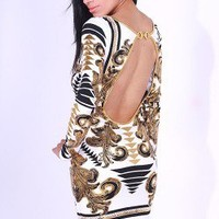 White/gold metallic printed backless long sleeve fitted party mini dress -AFFORDABLE SEXY PARTY DRESSES, CLUBWEAR 21