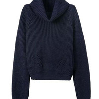 Long Sleeves  Roll Neck Ribbed Knitted Sweater