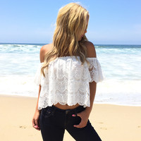 Dreamer Crochet Off Shoulder Top