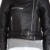 Viparo Alexei Quilted Biker Jacket in Black