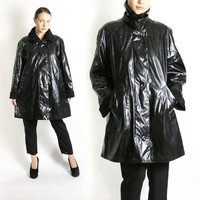 Vintage 90's Black PVC Minimalist Raincoat, Wet Look Coat - Medium to Large