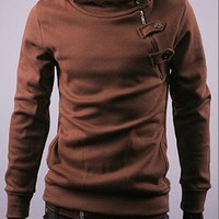 Coffee Long Sleeve With Button Casual Slim Outerwear With Cap M/L/XL/XXL@X700NH5S0W16co