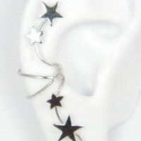 Sterling Silver Star Burst Ear Cuff Wrap right: Ear Charms: Jewelry