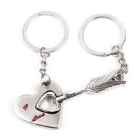 Chuzhao Wu Metal Nickel Key Ring Key Chain Arrow And Heart Shape For Lovers Sweethearts Valentine's Day Gift(Pack Of 2)