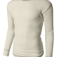 LE3NO PREMIUM Mens Midweight Waffle Knit Crew Neck Thermal T Shirt (CLEARANCE)