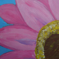 Pink Flower Blue Background Acrylic Painting SFA