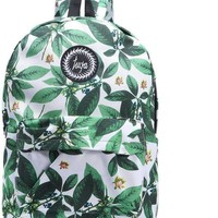 SheIn Fashion Preppy Style Bags For Women New Arrival Casual Ladies Green Leaf Print Embroidered Canvas Backpack