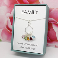 Mother's Day Gift for Wife gift 925 sterling silver Family necklace Swarovski birthstone necklace Wife's Birthday gift from husband