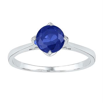 Sterling Silver Womens Round Lab-Created Blue Sapphire Solitaire Ring 1.00 Cttw