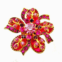 Pink rhinestone Brooch- Pronged Glass rhinestone - Flower with  Bow  - Floral Gold Metal  pin - mid century
