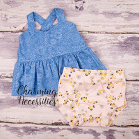Baby Girl Clothes, Toddler Girl Clothes, Outfit,  Baby Shower, Crop Swing Top and Knit Bloomies, Bloomers, Diaper Cover in Blue Flora