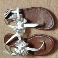 White Bow Diamante Strap Sandals Size 4  from BOBBY18
