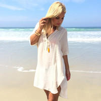 Pull It Off Tunic Dress In Vintage Cream