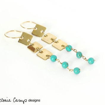 Gold and Aqua Long Drop Earrings, Geometric, Turquoise Colored, Dangle, Squares, Blue, Upcycled, Modern