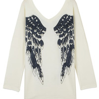 White Angel Wings Print V Neck Knitted Sweater