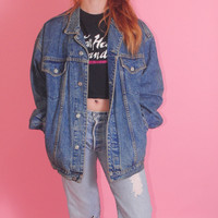 Vintage 1990s Dark Blue GAP Distressed Oversize Oversized DENIM Grunge Jacket Marked SMALL