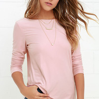 Far and Away Blush Pink Long Sleeve Top
