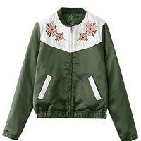 Army Green Contrast Floral Quilting Bomber Jacket