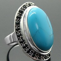 Blue Turquoises Oval 925 Sterling Silver Marcasite Ring