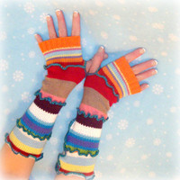 Arm Warmers, Upcycled Clothing, Fingerless Gloves, Eco Friendly, Gift for Her