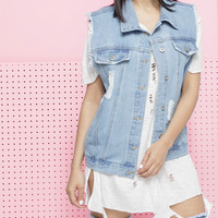 TOPANGA DISTRESSED DENIM VEST