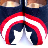 The Captain America - Hand painted TOMS Red White and Blue