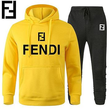 Fendi Print Hoodie Top And Pants Trouser Two Piece Set Sports Suit