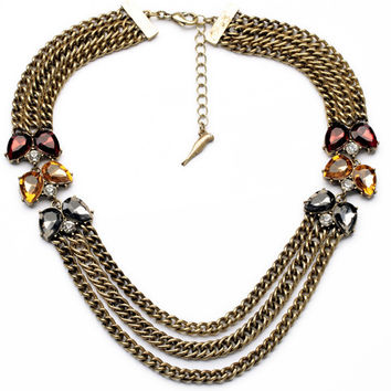 Triple Chain Crystal Statement Necklace