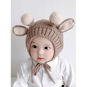 Baby Hat Autumn And Winter Ear Protection Baby Woolen Hat Super Cute And Cute Boys And Girls Hats Antlers Knitted Children Hats