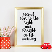 Peter Pan quote Nursery print Gift idea Nursery wall art Peter Pan Print Peter Pan poster For kids Inspirational quote Printable quotes