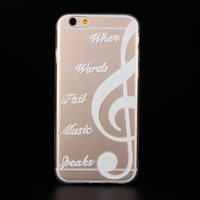 """""""When Words Fail Music Speaks"""" Ultra Soft TPU Transparent Music Symbol Design Phone Case Cover Shell For iPhone 6 6s 4.7"""" Inch"""
