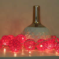Pink rattan ball wood rustic lantern string light wedding decoration party decor romantic pink lovely light night light decor vivid color