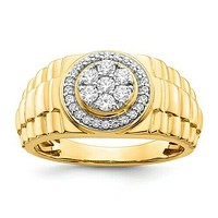 1/2 Ct. Real Diamond Men's Ring in 10K Yellow and White Gold
