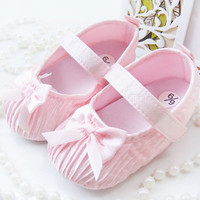 Cute Toddler Baby Kids Girls Bowknot Satin Crib Shoes Princess Shoes First Walkers Size 0-18M NW