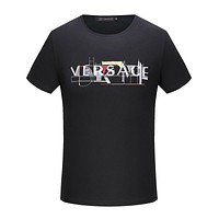 Versace  Women or Men Fashion Casual Letter Embroidery Shirt Top Tee