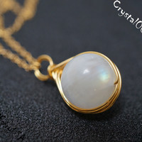Rainbow Moonstone 14k gold filled necklace, wire wrapped moonstone necklace,  genuine moonstone necklace, delicate single bead gold necklace