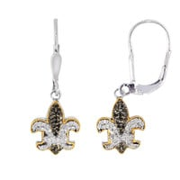 18K Gold And Oxidized Sterling Silver Fleur De Lis  Drop Earrings With Black And White Sapphires