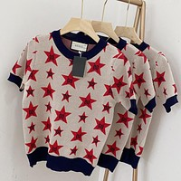 GG five-star double G knitted jacquard round neck short-sleeved T-shirt