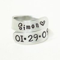 Personalized name birth date ring - Child name birthday ring - Mommy ring Daddy ring - Birthdate and name ring