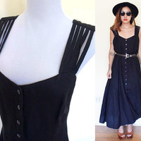 Vintage large button down sweetheart neckline black maxi day dress L 10