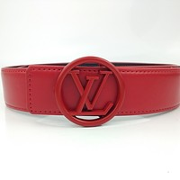 Louis Vuitton LV solid color simple belt letter buckle belt