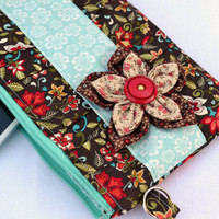 Autumn flower clutch purse, bridal clutch, makeup bag, clutch wallet, clutch, zipper clutch, boho fashion, pleated clutch, wristlet, pouch
