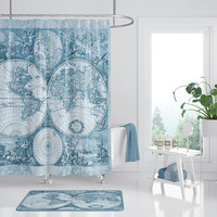 Blue World Map fabric Shower Curtain -  travel Decor - Frederic de Wit, classic antique map