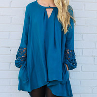 Harvest Glow Teal Trapeze Tunic Dress
